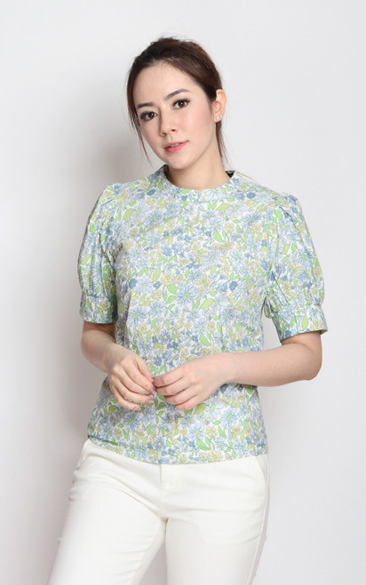 Floral Print Puff Sleeves Top - Blue