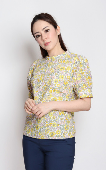 Floral Print Puff Sleeves Top - Yellow