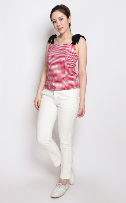 Ribbon Tie Gingham Top - Red
