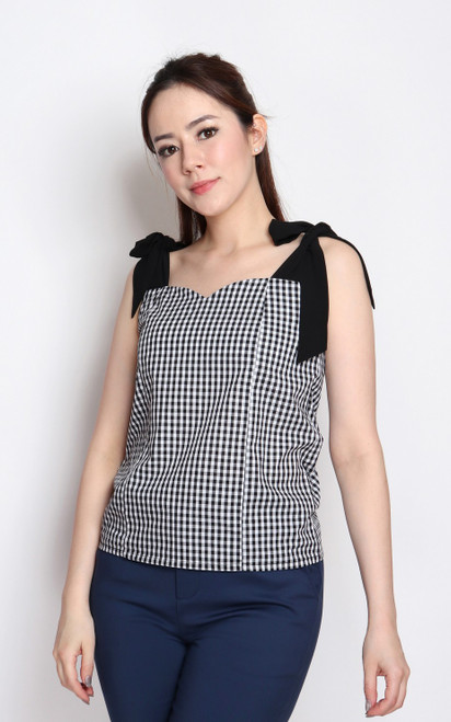 Ribbon Tie Gingham Top - Black
