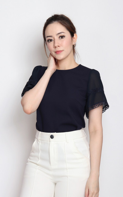 Chiffon Flutter Sleeves Top - Navy