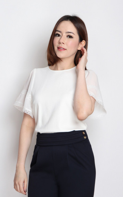 Chiffon Flutter Sleeves Top - White