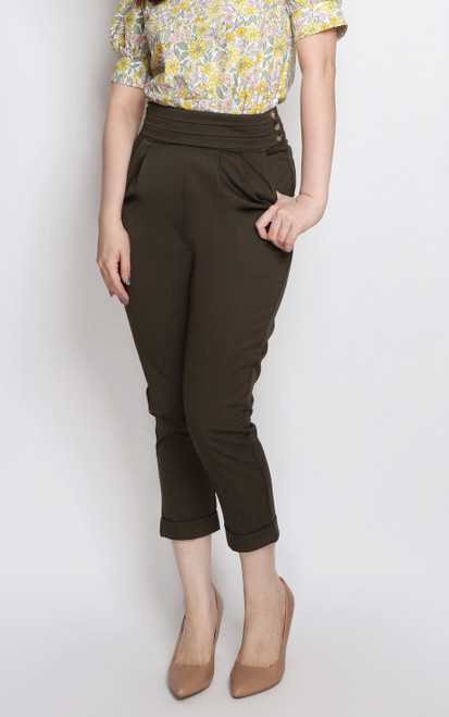 Pleated Waist Peg Trousers - Olive