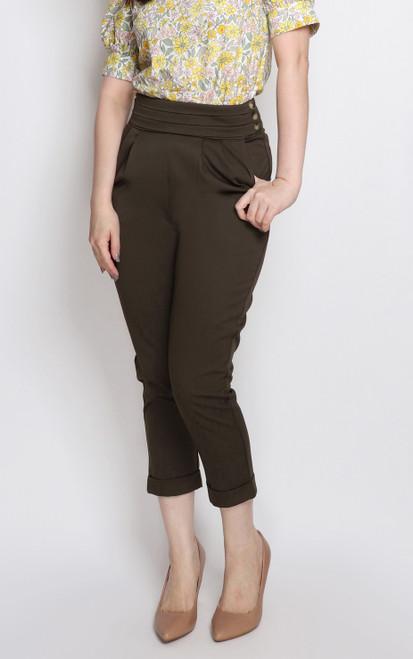 Pleated Waist Peg Trousers - Olive