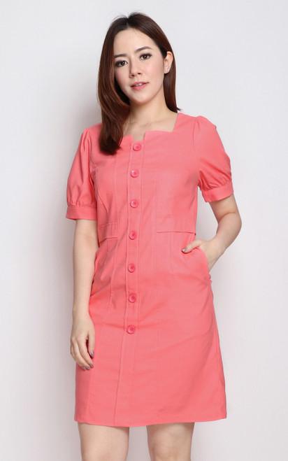 Buttons Linen Dress - Salmon Pink