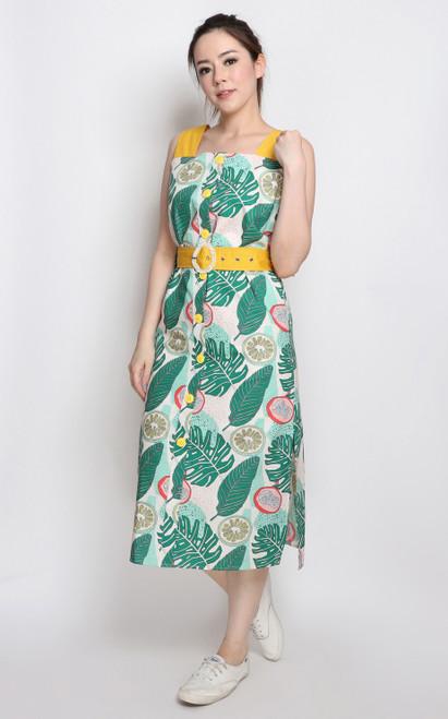 Tutti Frutti Midi Dress - Yellow