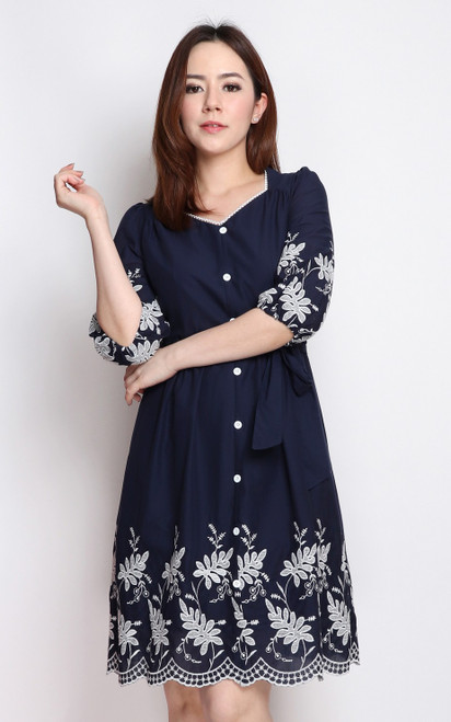 Embroidery Hem Dress - Navy
