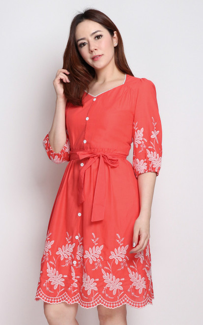 Embroidery Hem Dress - Coral