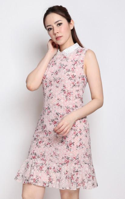 Floral Eyelet Dress - Pink