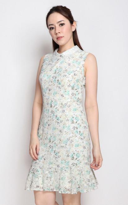 Floral Eyelet Dress - White