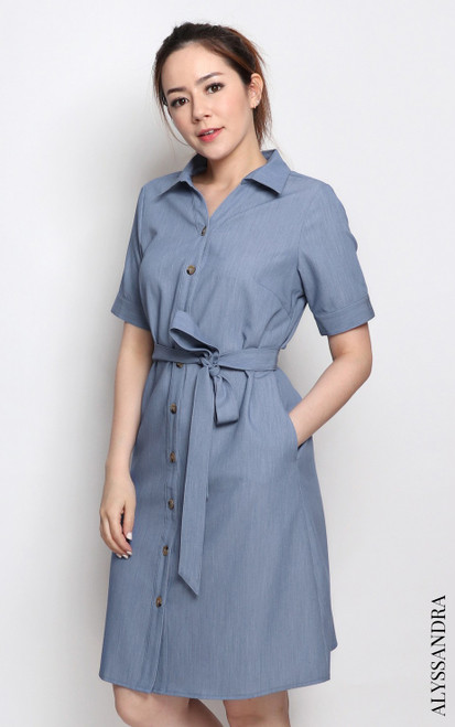 Buttons Shirt Dress - Denim Blue