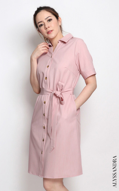 Buttons Shirt Dress - Dusty Pink