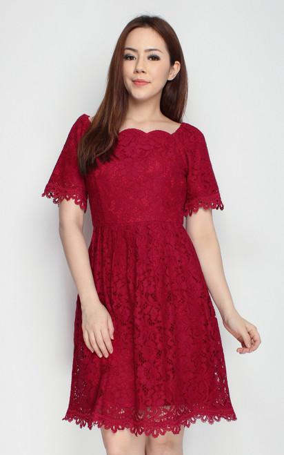 Scallop Lace Dress - Wine