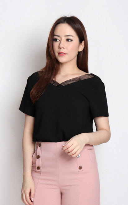 Sleeved Lace Trim Top - Black