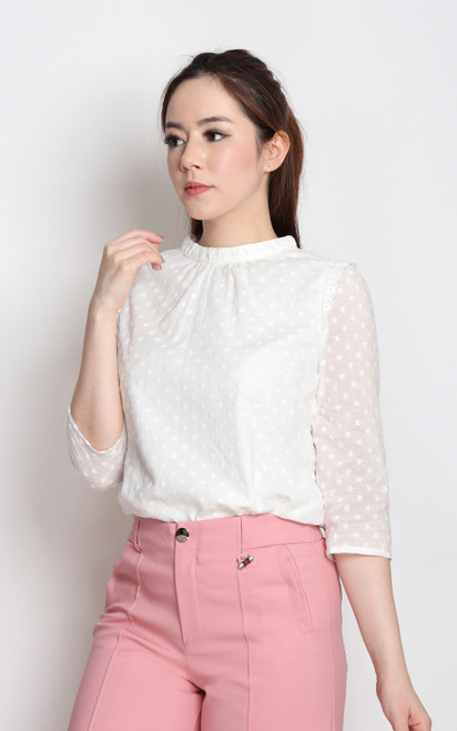 Embroidered High Collar Blouse - White