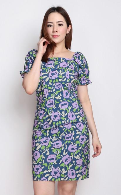 Floral Square Neck Pencil Dress