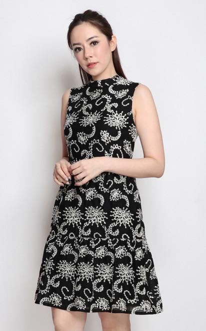 High Collar Broderie Dress - Black