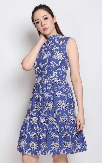 High Collar Broderie Dress - Blue