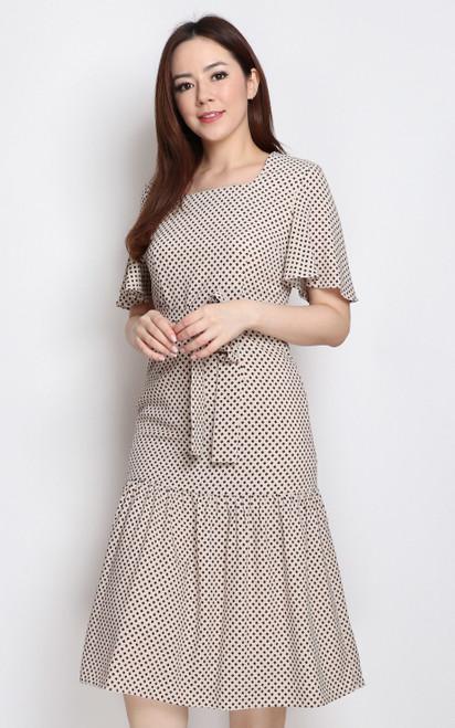 Printed Square Neck Midi Dress - Cream