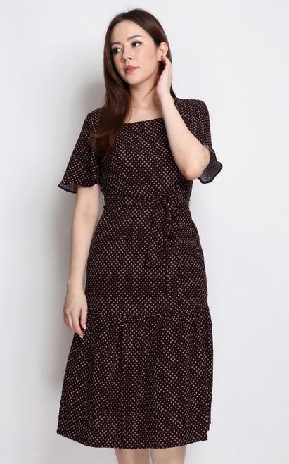 Printed Square Neck Midi Dress - Black