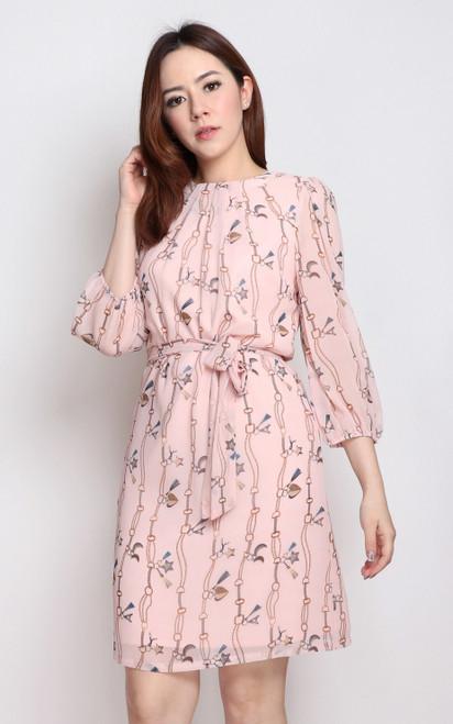 Chain Print Chiffon Dress - Pink