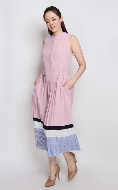 Colourblock Pleated Midi Dress - Pink