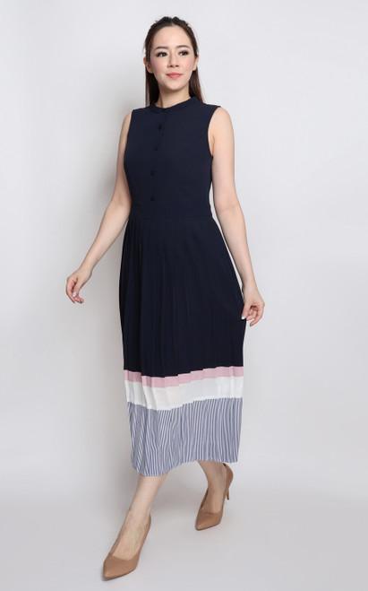 Colourblock Pleated Midi Dress - Navy