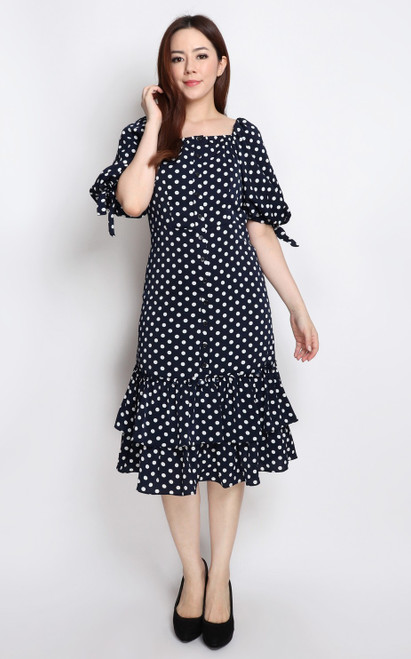 Polka Dot Puff Sleeves Dress
