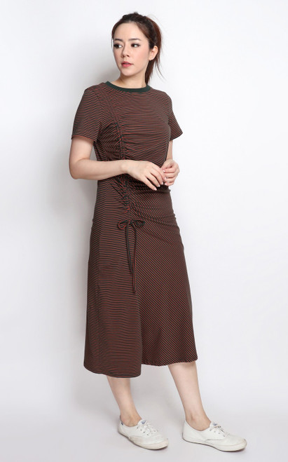 Side Ruched Midi Dress - Forest Green