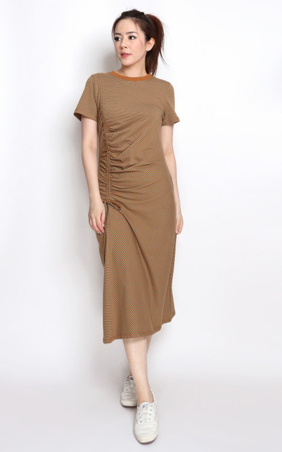Side Ruched Midi Dress - Brown
