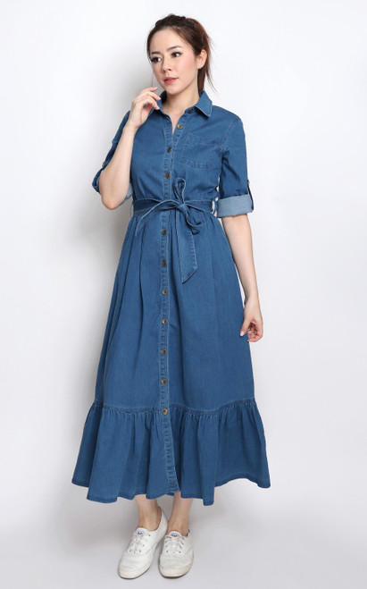 Ruffle Hem Denim Dress