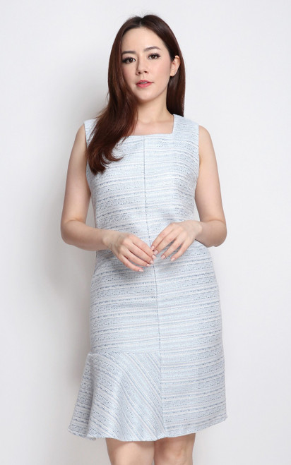 Asymmetrical Flounce Tweed Dress - Blue