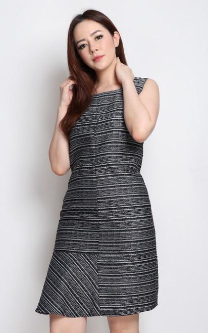 Asymmetrical Flounce Tweed Dress - Black
