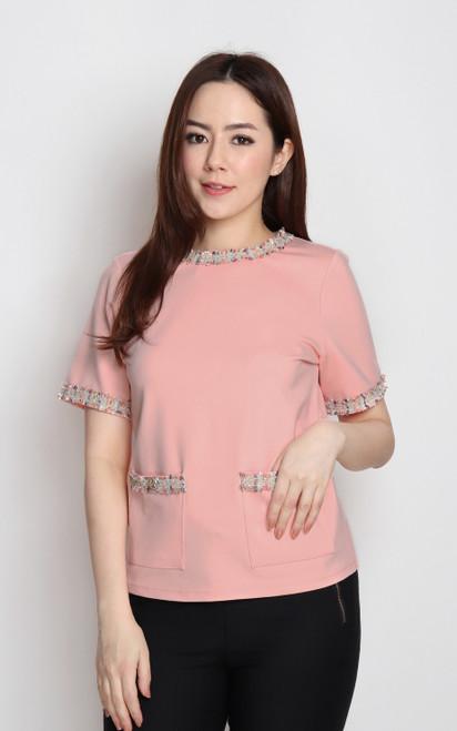 Tweed Trim Top - Peach Pink