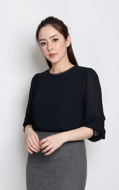 Smocked Cuff Top - Navy