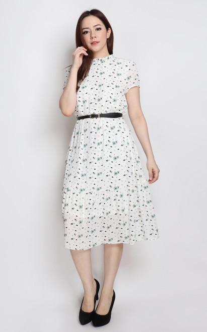 Printed Frill Neck Dress - White