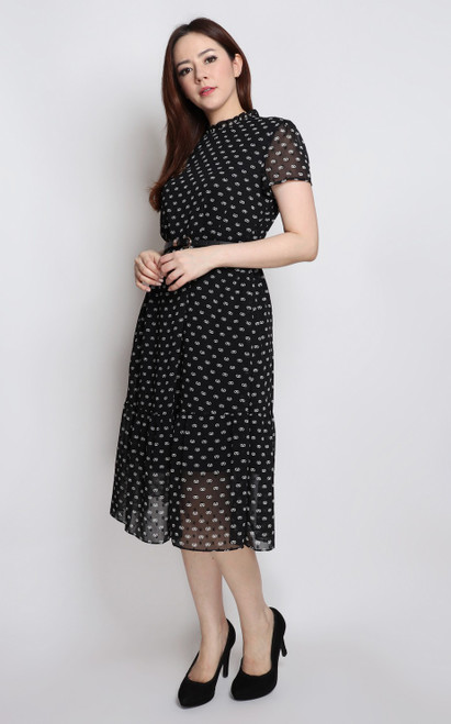Printed Frill Neck Dress - Black