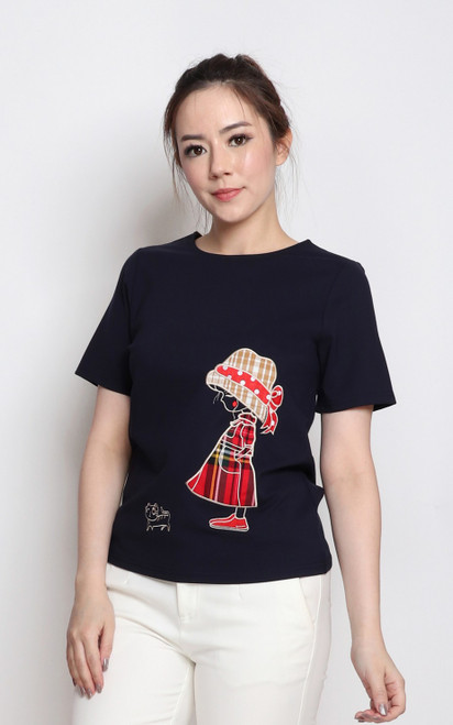 Embroidered Tee Top - Navy