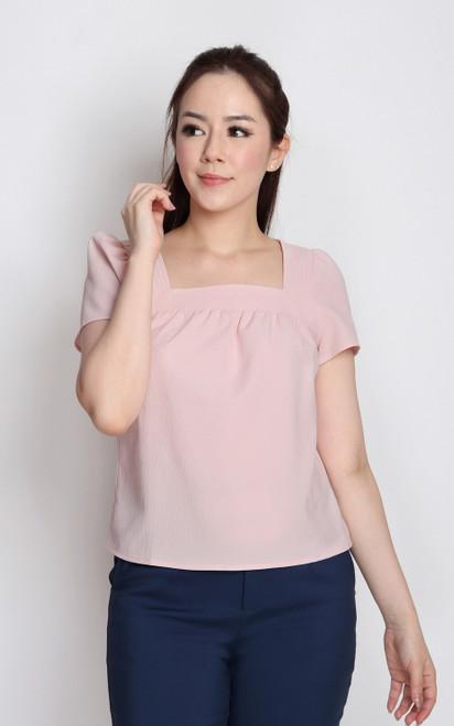 Textured Square Neck Top - Pink