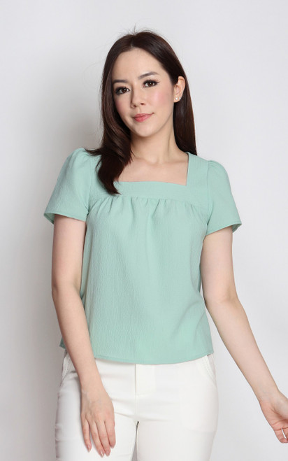 Textured Square Neck Top - Mint