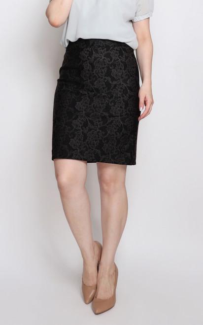 Lace Imprint Pencil Skirt