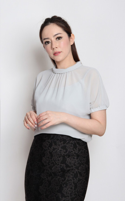 Rolled Neck Top - Grey