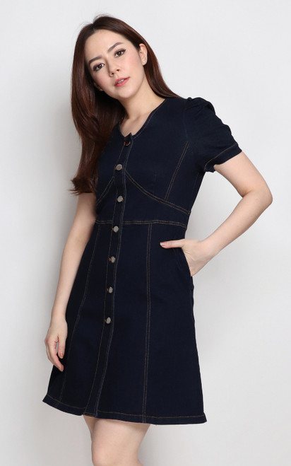 Contrast Stitch Denim Dress