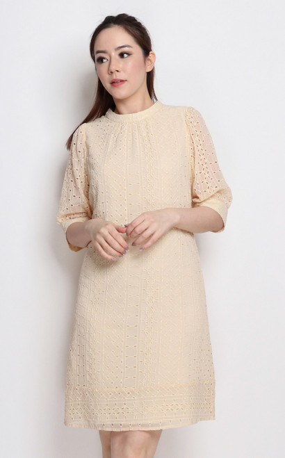 Eyelet Shift Dress - Cream