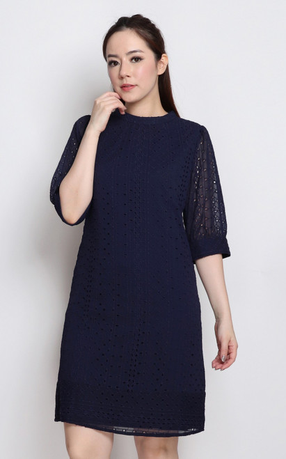 Eyelet Shift Dress - Navy