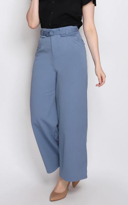 High Waist Pants - Blue