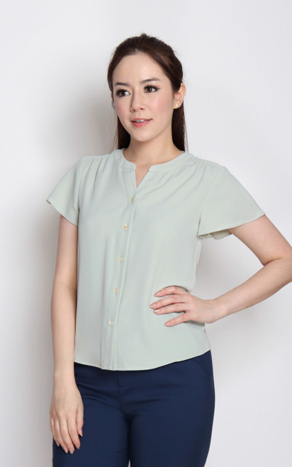 Flutter Sleeves Button Up Top - Sage