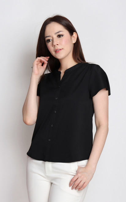 Flutter Sleeves Button Up Top - Black