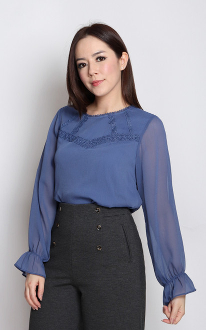 Crochet Trim Chiffon Top - Periwinkle Blue