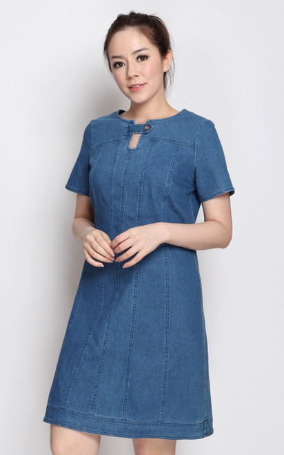 Keyhole Denim Dress
